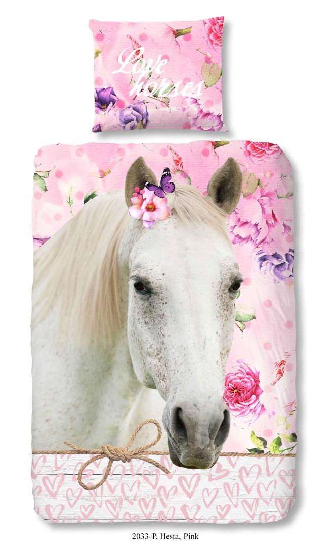 Dekbedovertrek met paard – roze